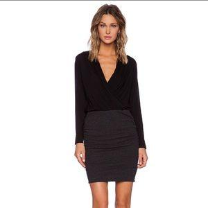 James Perse College Wrap Dress Black GREY Sz Small